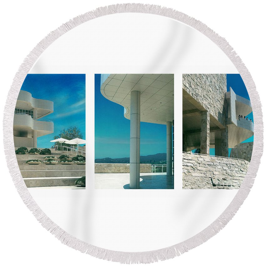 Abstract Round Beach Towel featuring the photograph The Getty Triptych by Steve Karol