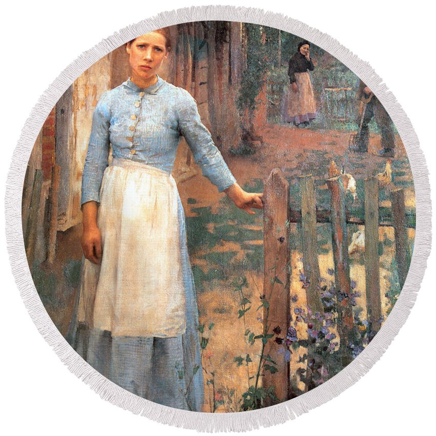 Sir George Clausen Round Beach Towel featuring the digital art The Girl At The Gate by Sir George Clausen