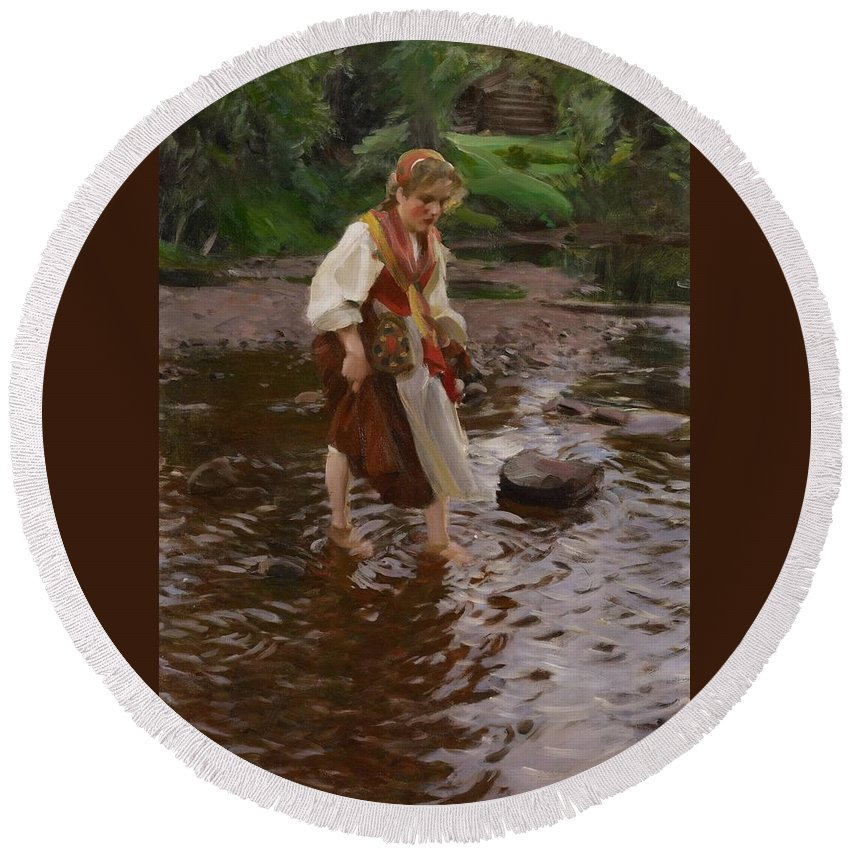 Anders Zorn Round Beach Towel featuring the digital art The Girl From Alvdalen by Anders Zorn