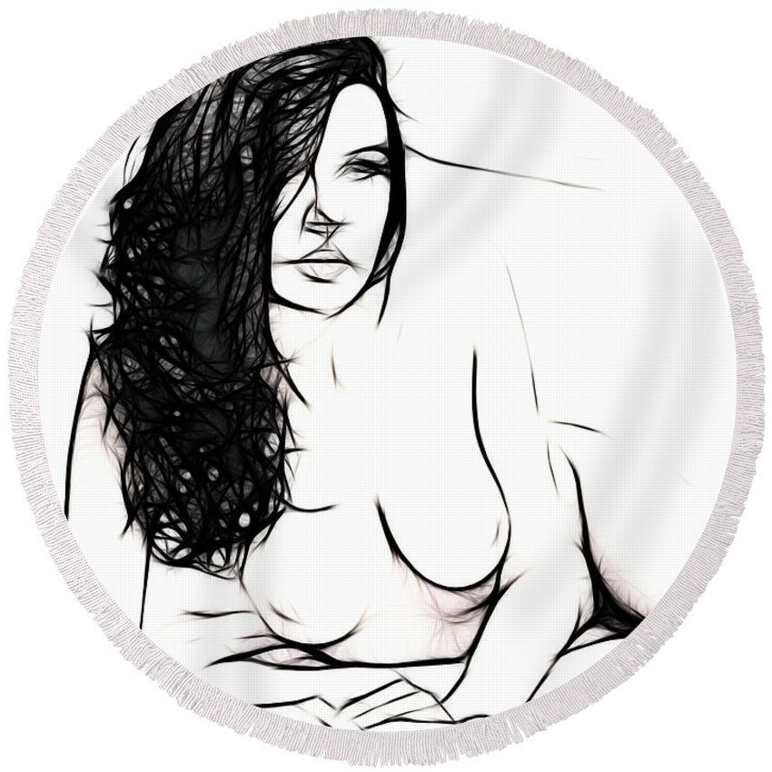 Female Woman Body Nude Breast Tits Scape Figure Curve Curves Painting Naked Black White Erotic 裸 Girl Sex Intimate Virgin Boobs Butt Innocence Male Men Man Lover Love Couple Kiss Intimo Erotico Vergine Culo Tette Innocenza Fille Femme Sexe Erotique Cul Vierge Seins Sieviete Kobieta Cycki Menina Intima Erotica Bed Sleep Sleeping Wet Dream Dreams Seduction Lust Black White Shape Curve Curves Desire Minimalism Round Beach Towel featuring the drawing The Girl In My Bed by Steve K