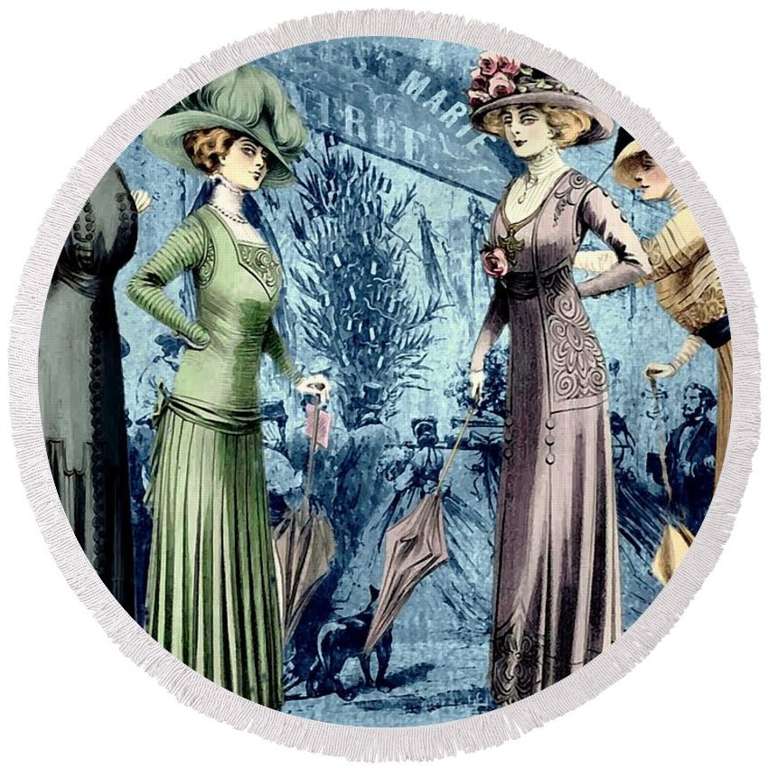 Fashion Round Beach Towel featuring the digital art The Girls by John Madison