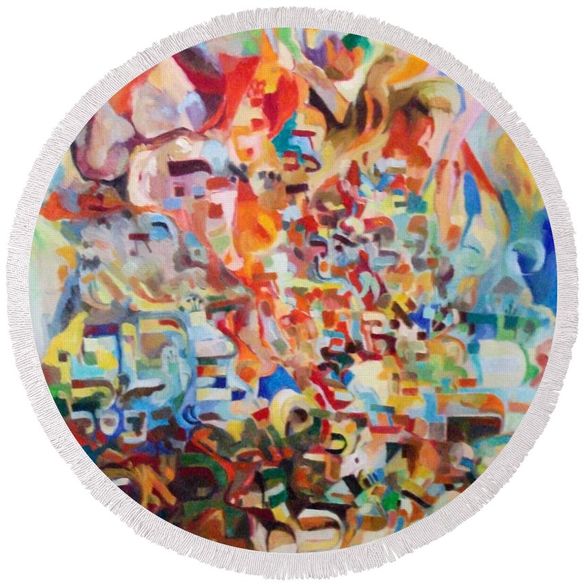 Round Beach Towel featuring the painting The Giving Of The Torah by David Baruch Wolk