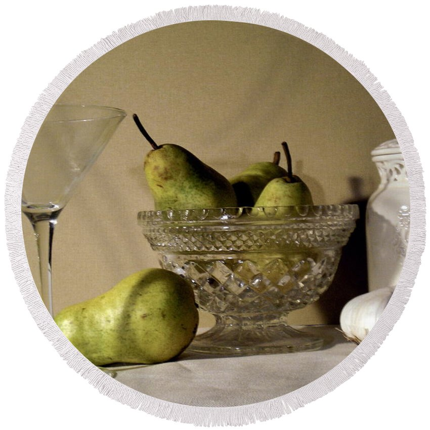 Pear Still Life Round Beach Towel featuring the photograph The Glass Is Empty by Gerry High