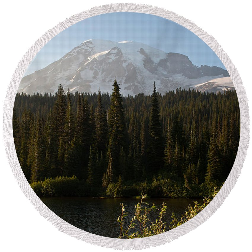 Mt.rainier Round Beach Towel featuring the photograph The Glow Of Mount Rainier by Tikvah's Hope