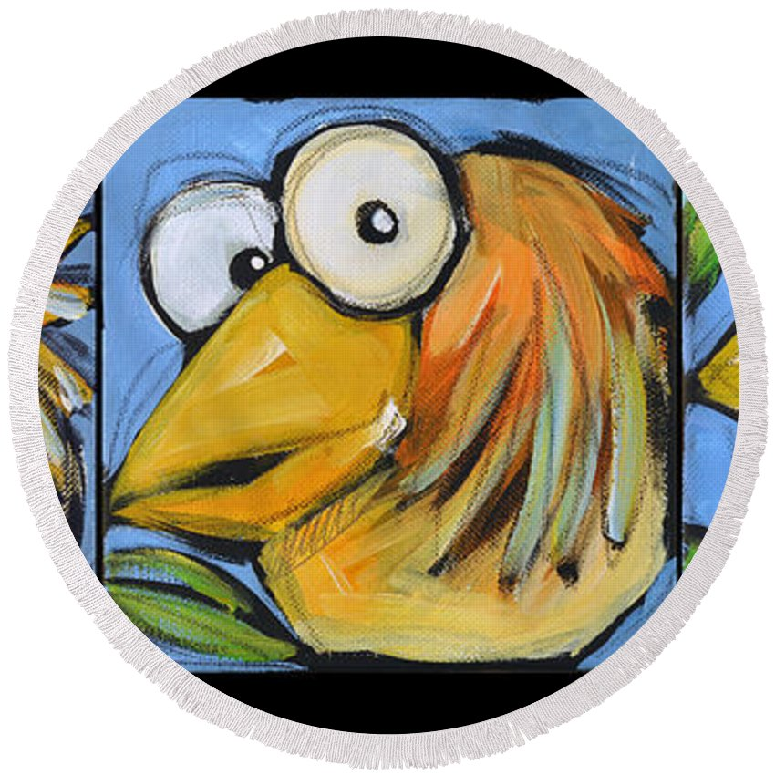Bird Round Beach Towel featuring the painting The Goldbird Trio by Tim Nyberg