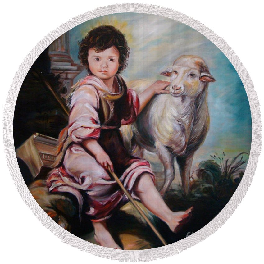 Classic Art Round Beach Towel featuring the painting The Good Shepherd by Silvana Abel