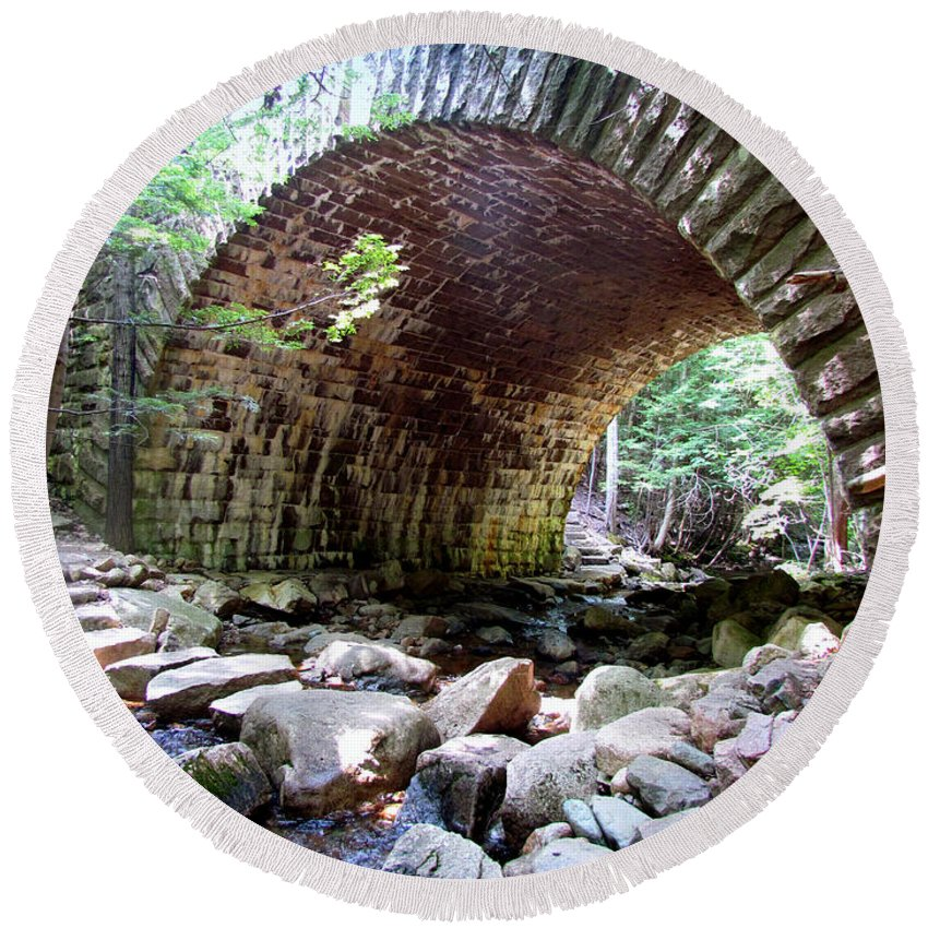 Bridge Round Beach Towel featuring the photograph The Gorge Trail Stone Bridge by Elizabeth Dow