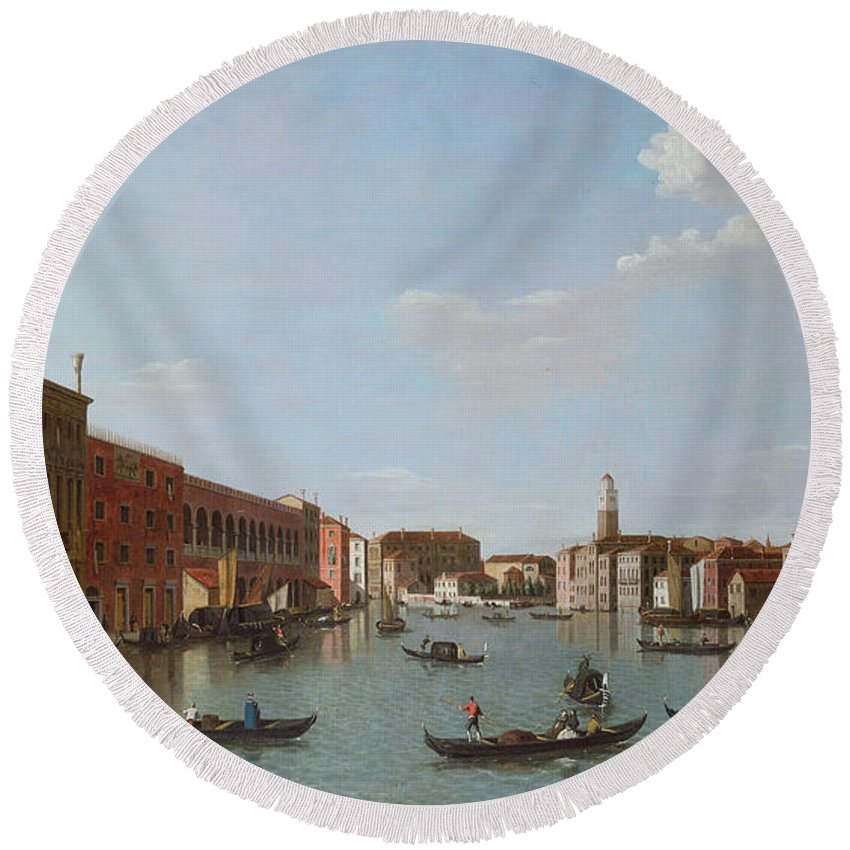 Architecture Round Beach Towel featuring the photograph The Grand Canal And San Geremia, Venice, 18th Century by William James