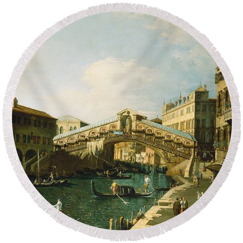 Canaletto Round Beach Towel featuring the painting The Grand Canal  Venice by Canaletto