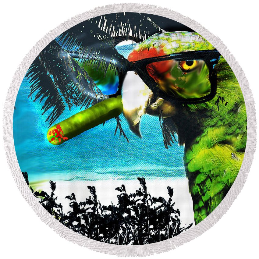 The Great Bird Of Casablanca Round Beach Towel featuring the digital art The Great Bird Of Casablanca by Seth Weaver