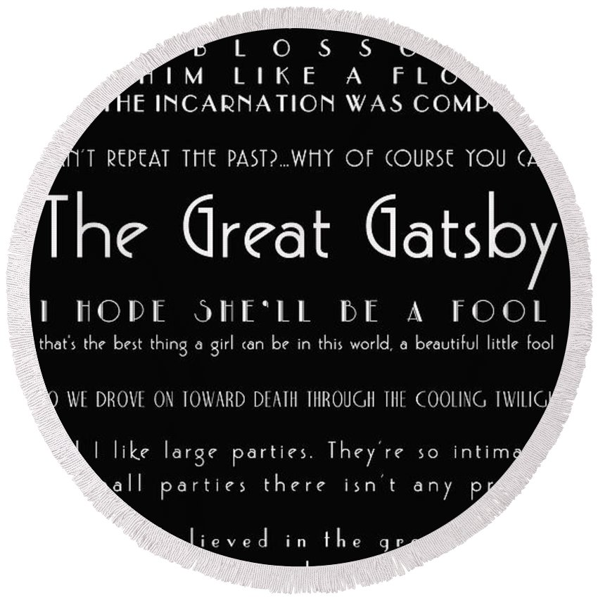 The Great Gatsby Quotes Round Beach Towel