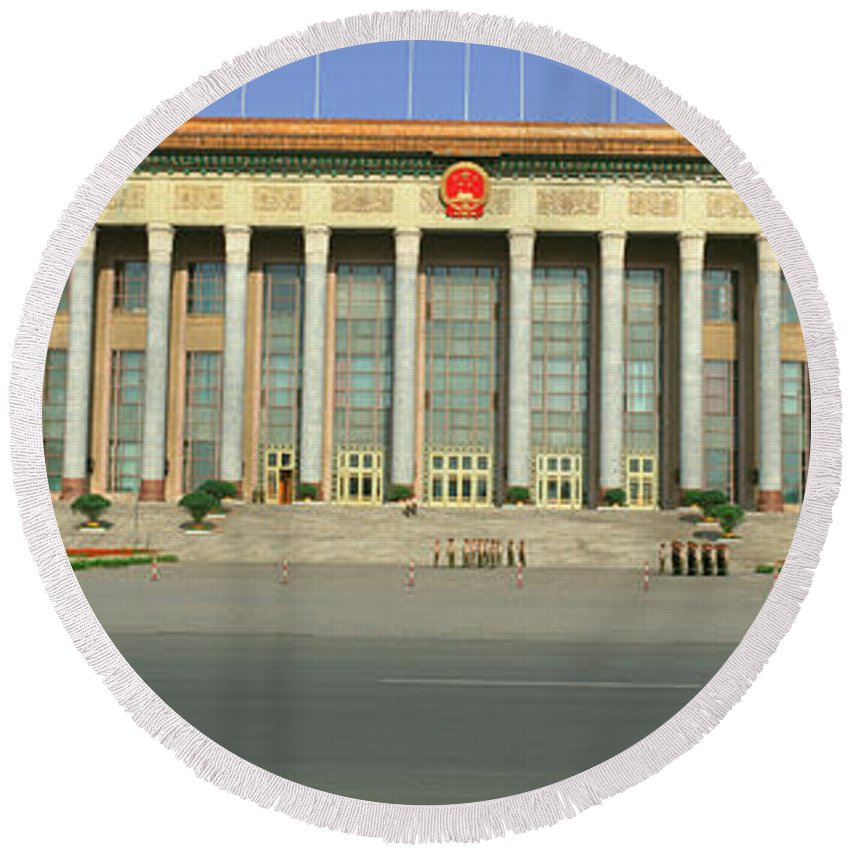 Photography Round Beach Towel featuring the photograph The Great Hall Of The People by Panoramic Images