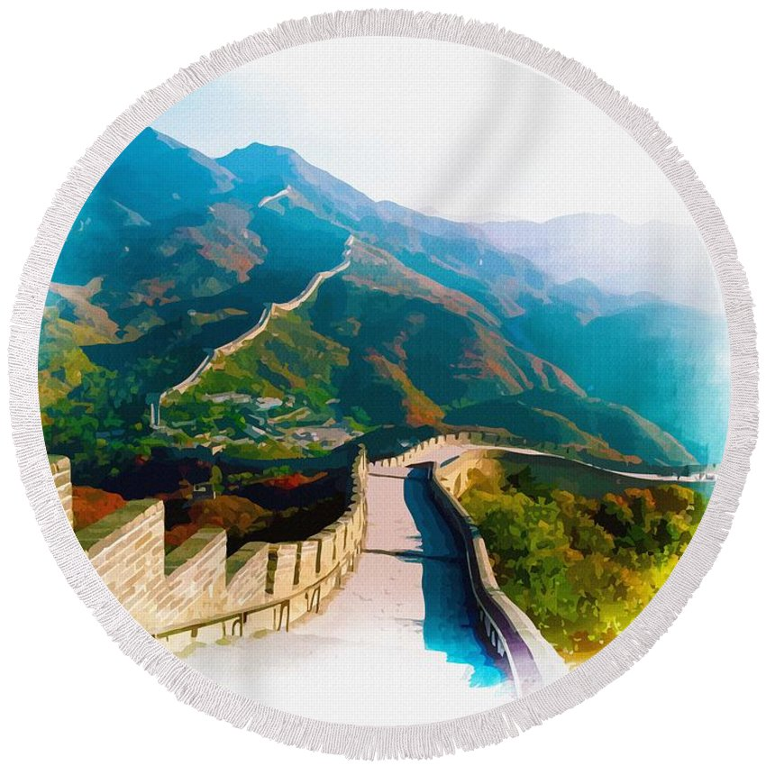 Great Wall Of China Round Beach Towel featuring the digital art The Great Wall Of China by Don Kuing
