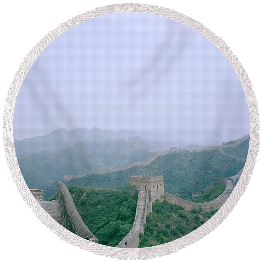 Great Wall Of China Round Beach Towel featuring the photograph The Great Wall Of China by Shaun Higson