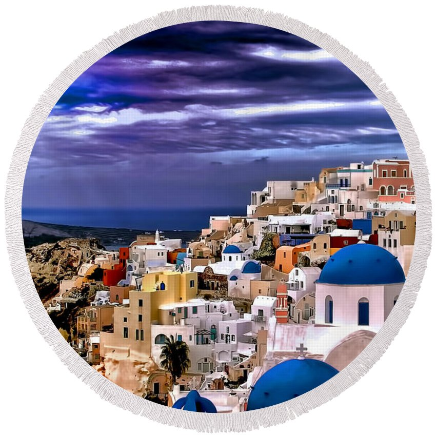 Travel Photo Round Beach Towel featuring the photograph The Greek Isles Santorini by Tom Prendergast