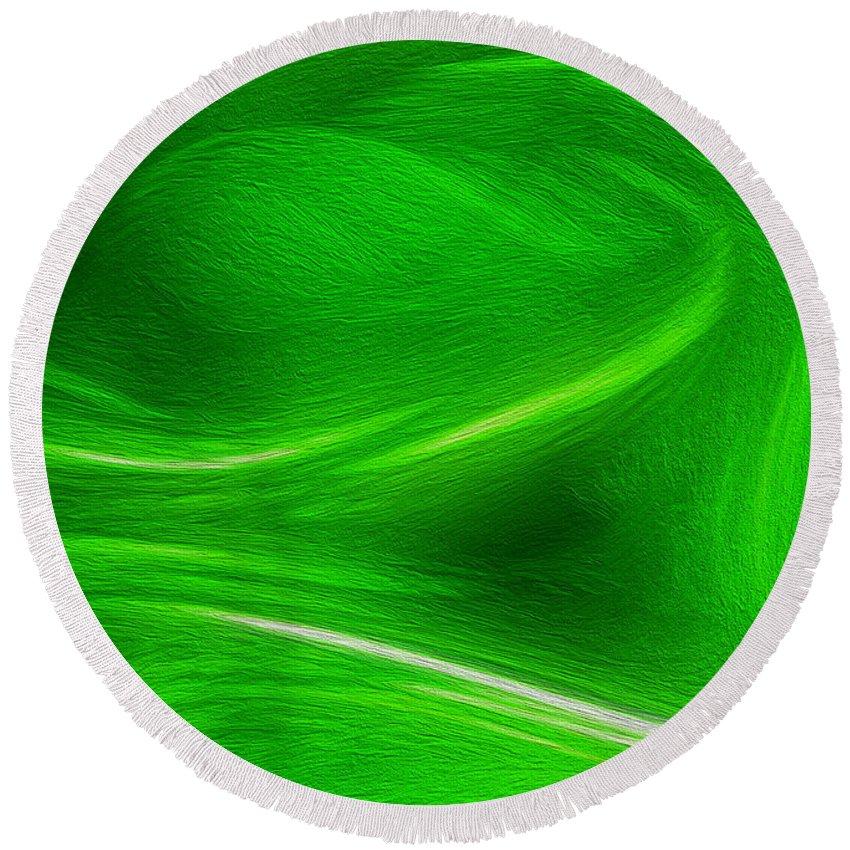 Green Round Beach Towel featuring the digital art The Green Factor by Carlos Vieira