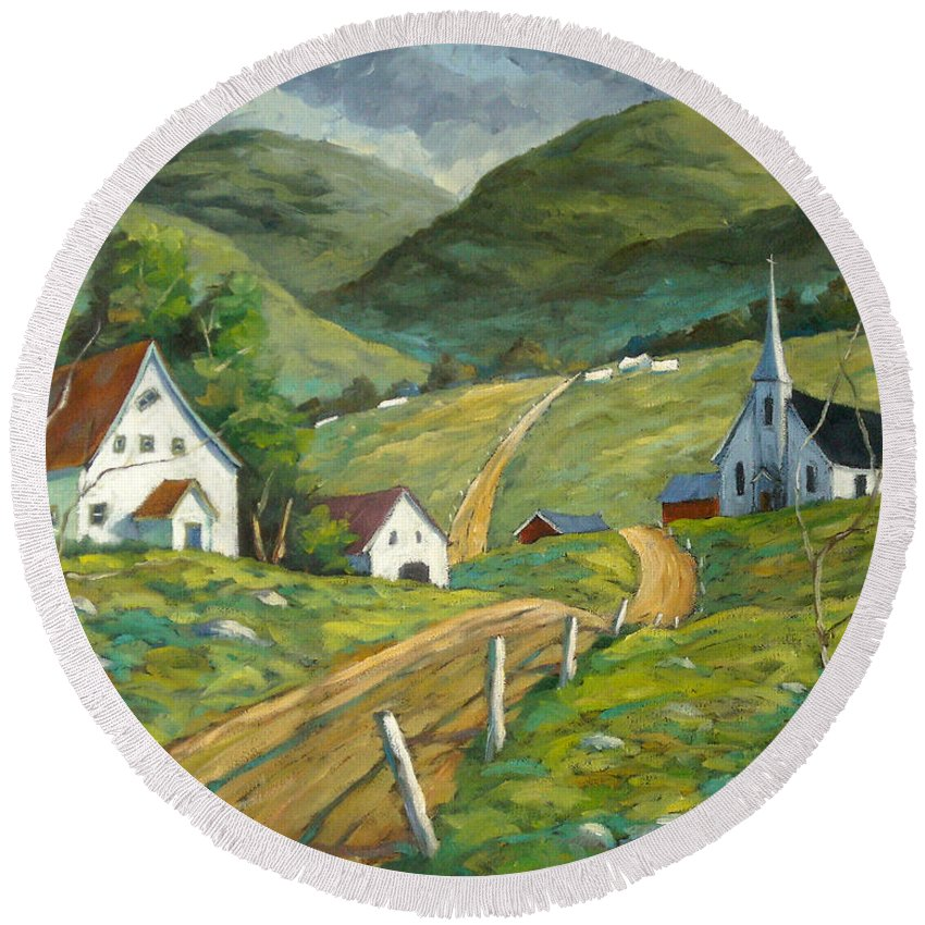 Hills Round Beach Towel featuring the painting The Green Hills by Richard T Pranke