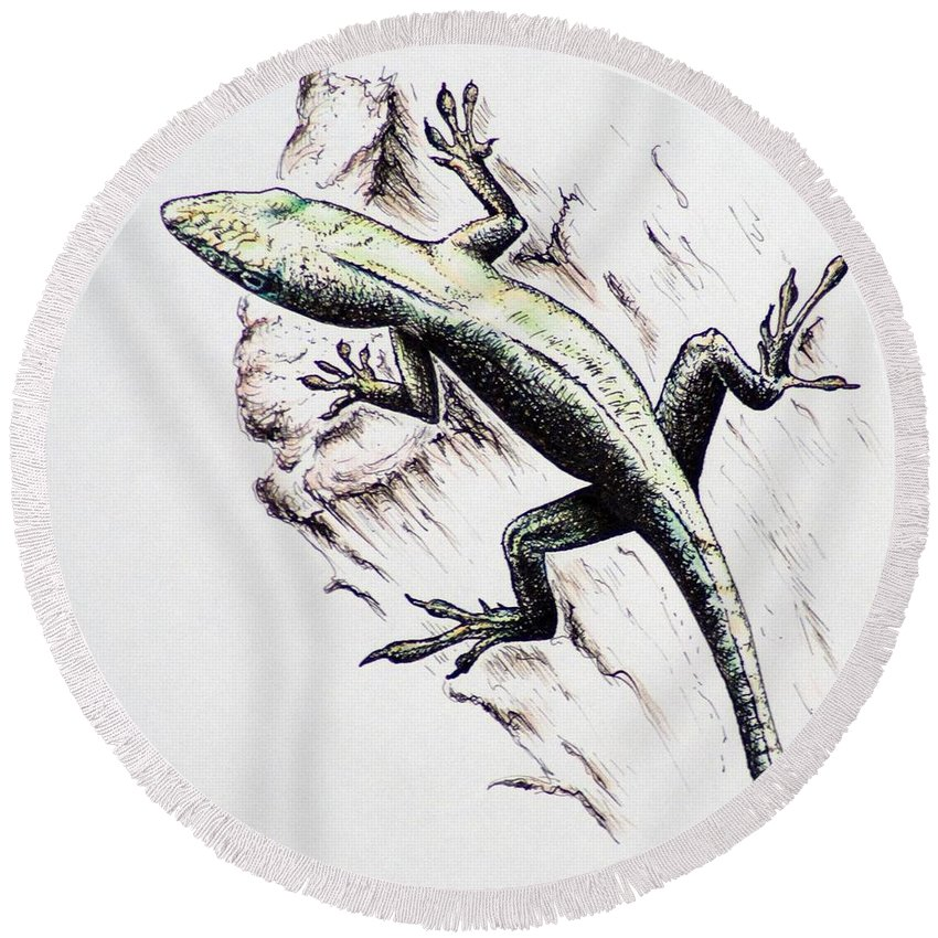 Ink Sketch Round Beach Towel featuring the drawing The Green Lizard by Katharina Filus