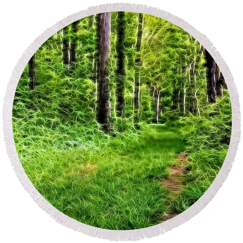 The Green Path Round Beach Towel featuring the digital art The Green Path by Dan Sproul