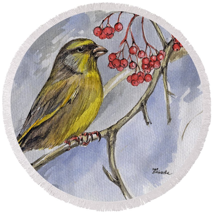 Greenfinch Round Beach Towel featuring the painting The Greenfinch by Angel Ciesniarska