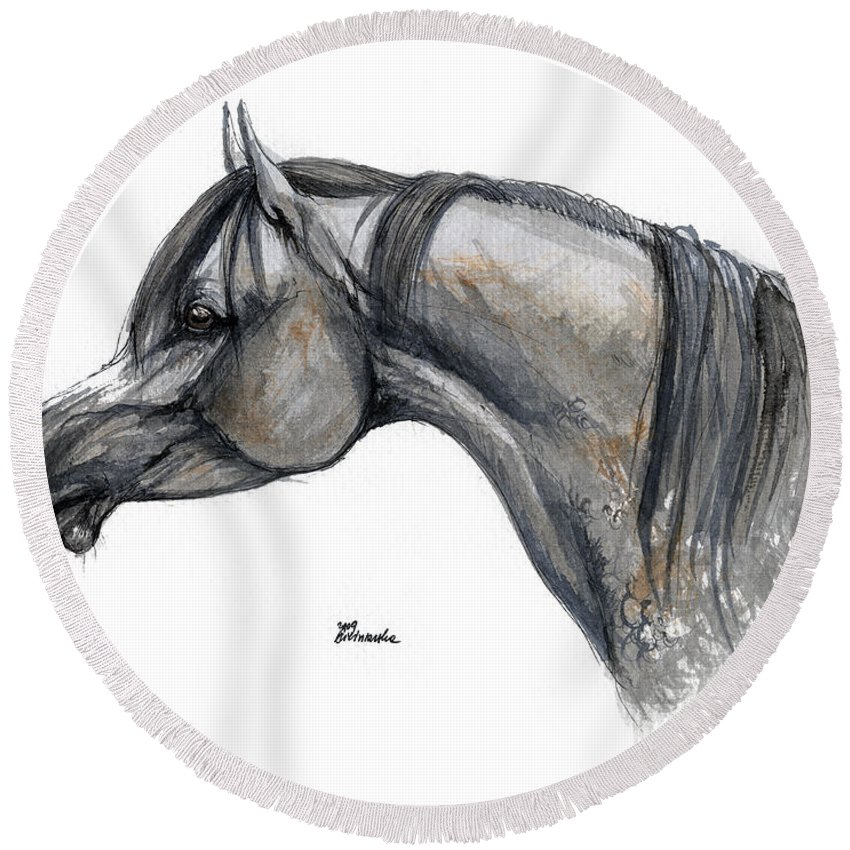 Horse Round Beach Towel featuring the painting The Grey Arabian Horse 11 by Angel Ciesniarska