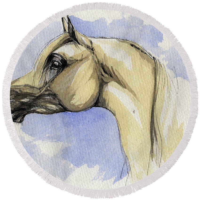 Arabian Round Beach Towel featuring the painting The Grey Arabian Horse 12 by Angel Tarantella