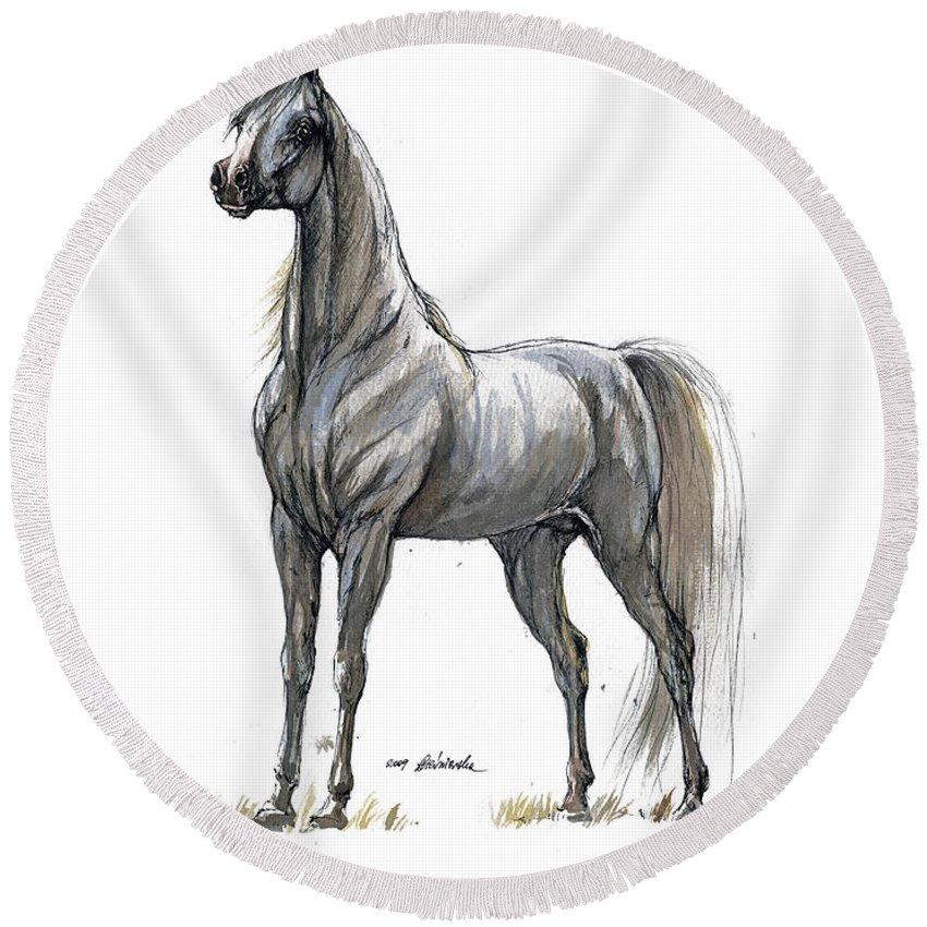 Horse Round Beach Towel featuring the painting the Grey arabian horse 7 by Angel Ciesniarska
