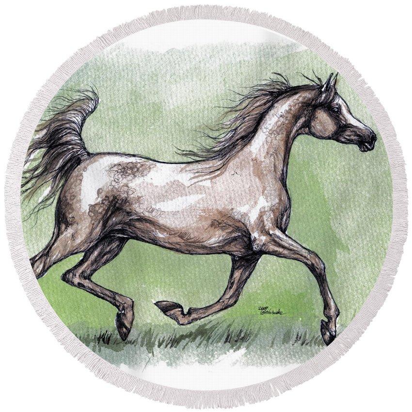 Horse Round Beach Towel featuring the painting The Grey Arabian Horse 8 by Angel Ciesniarska