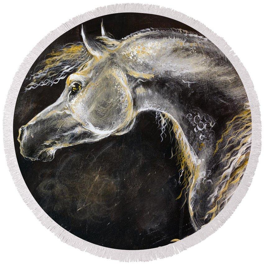 Horse Round Beach Towel featuring the painting The Grey Arabian Horse 9 by Angel Ciesniarska