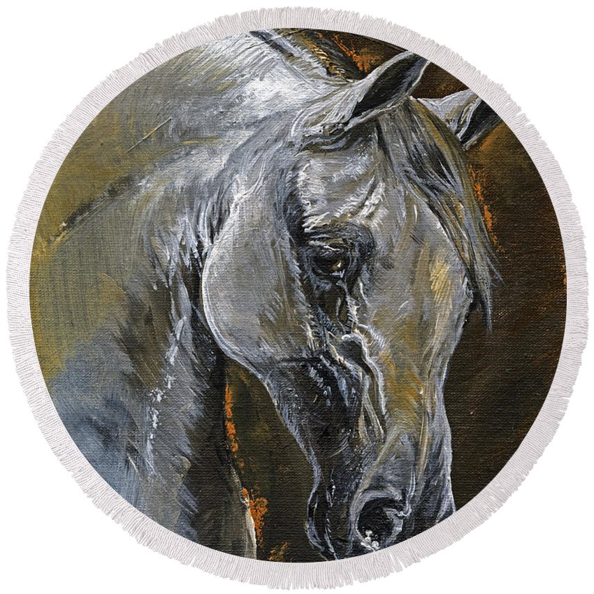 Grey Horse Round Beach Towel featuring the painting The Grey Arabian Horse Oil Painting by Angel Ciesniarska