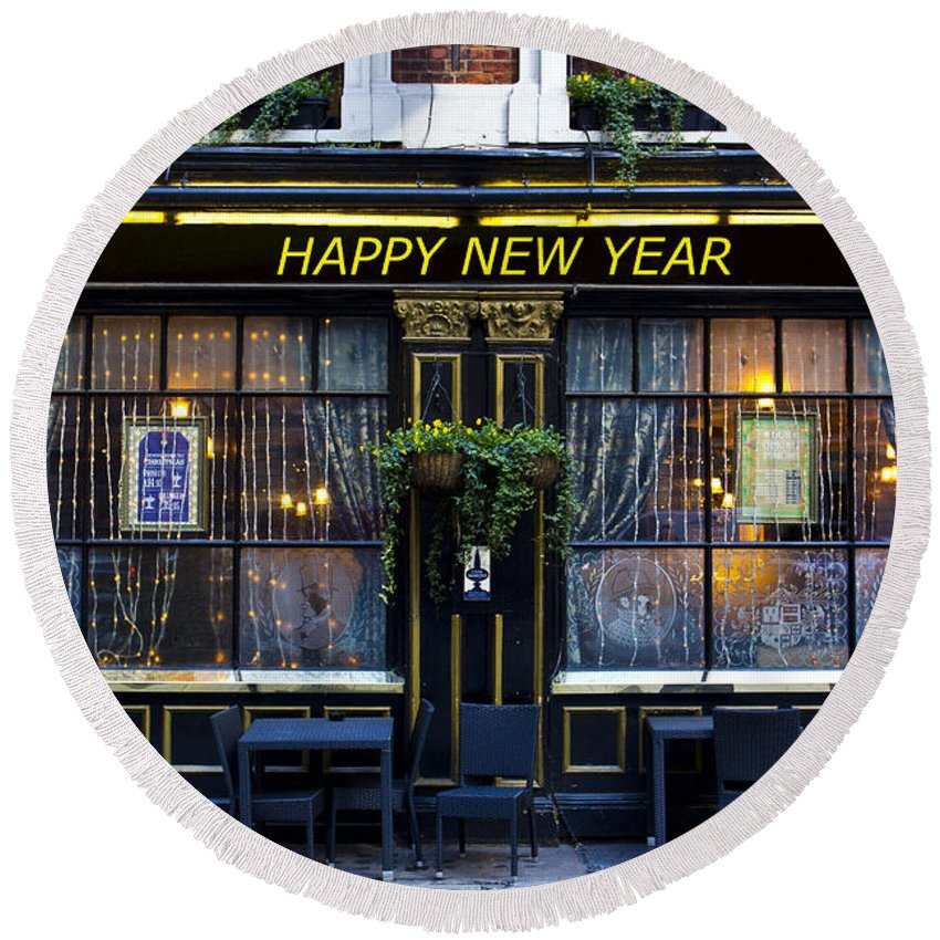 Pub Round Beach Towel featuring the photograph The Happy New Year Pub by David Pyatt