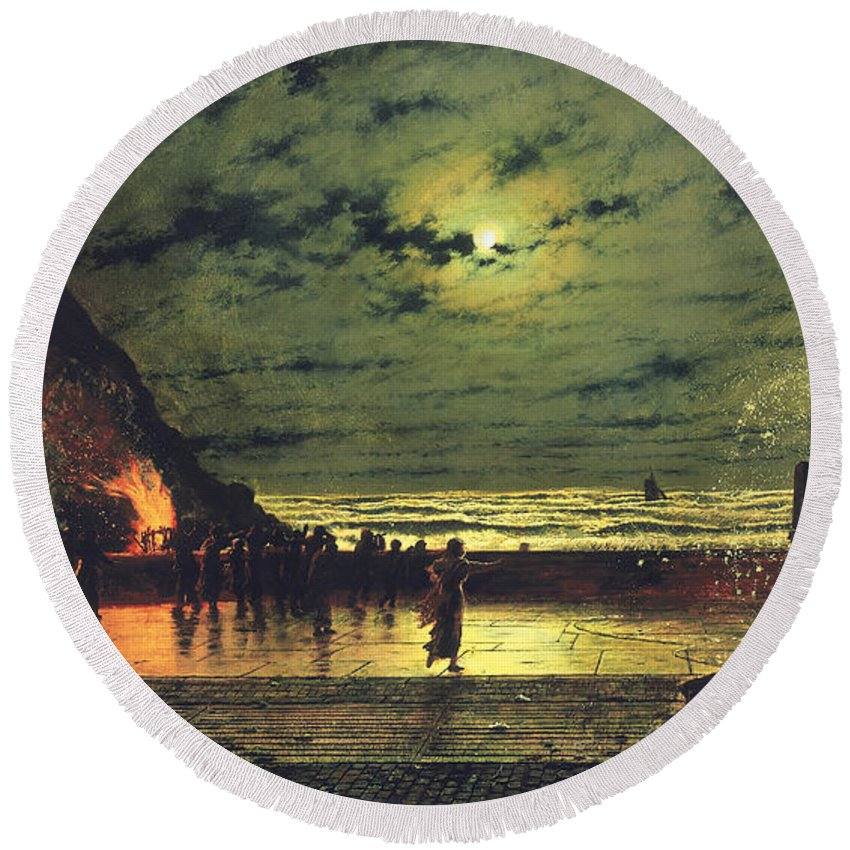 The Harbor Flare Round Beach Towel featuring the painting The Harbour Flare by John Atkinson Grimshaw
