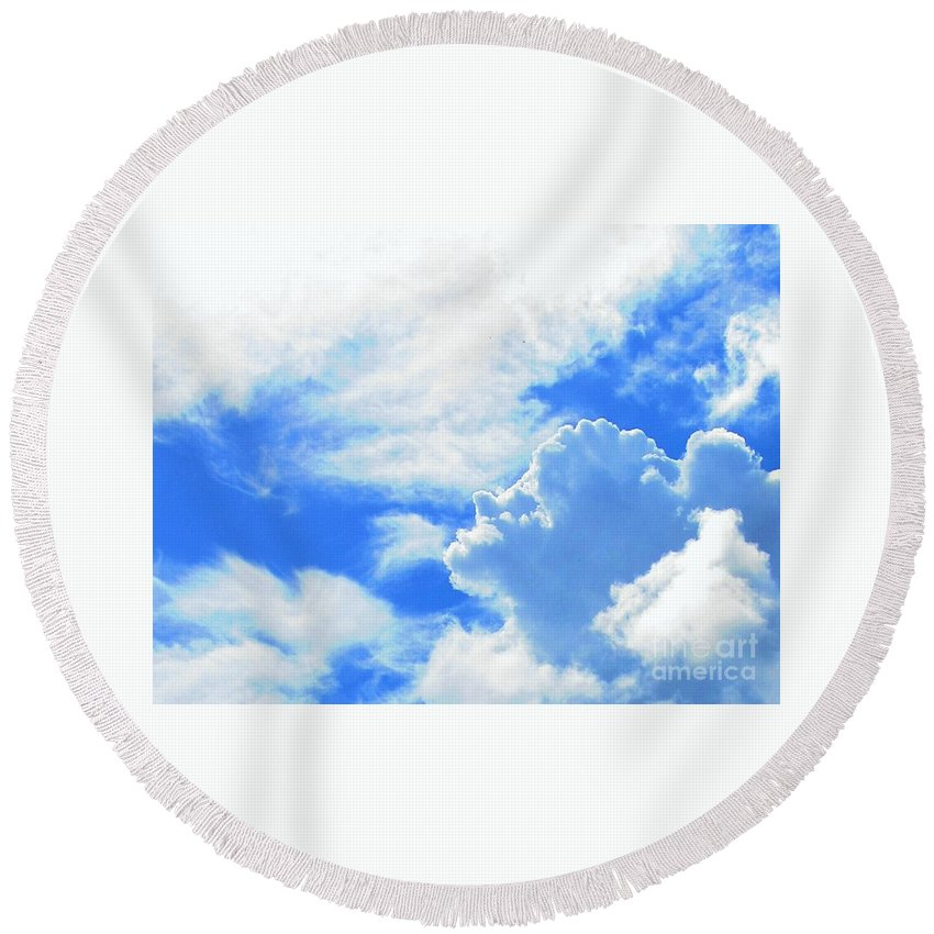 Cloud Round Beach Towel featuring the photograph The Head In The Clouds by Callan Art
