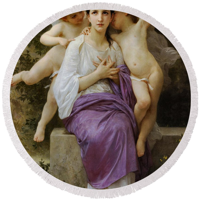 William Bouguereau Round Beach Towel featuring the digital art The Hearts Awakening by William Bouguereau