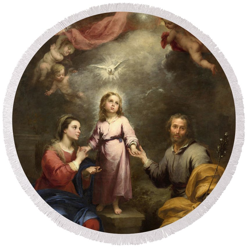 Bartolome Esteban Murillo Round Beach Towel featuring the painting The Heavenly And Earthly Trinities by Bartolome Esteban Murillo