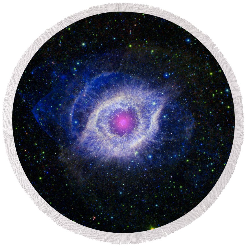 3scape Round Beach Towel featuring the photograph The Helix Nebula by Adam Romanowicz