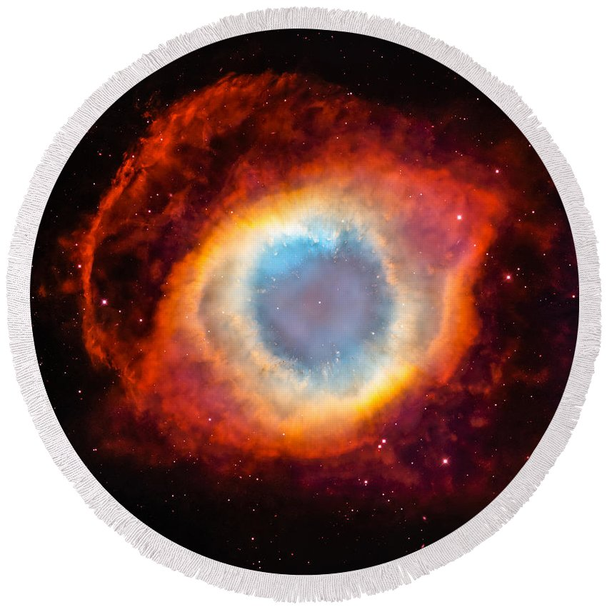 Cosmos Round Beach Towel featuring the photograph The Helix Nebula by Marco Oliveira