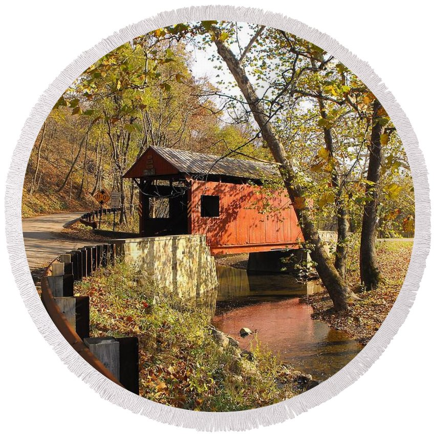 Covered Bridge Round Beach Towel featuring the photograph The Henry Bridge 1 by Spencer McKain
