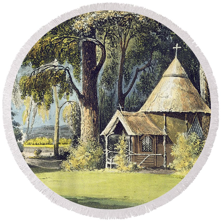 Thatched Round Beach Towel featuring the painting The Hermitage, From Ackermanns by John Gendall