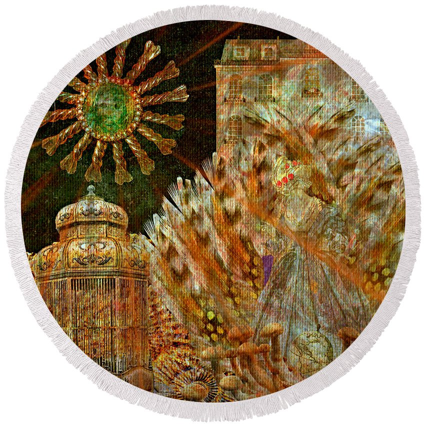 The History Of Consciousness Round Beach Towel featuring the digital art The History Of Consciousness by Ally White