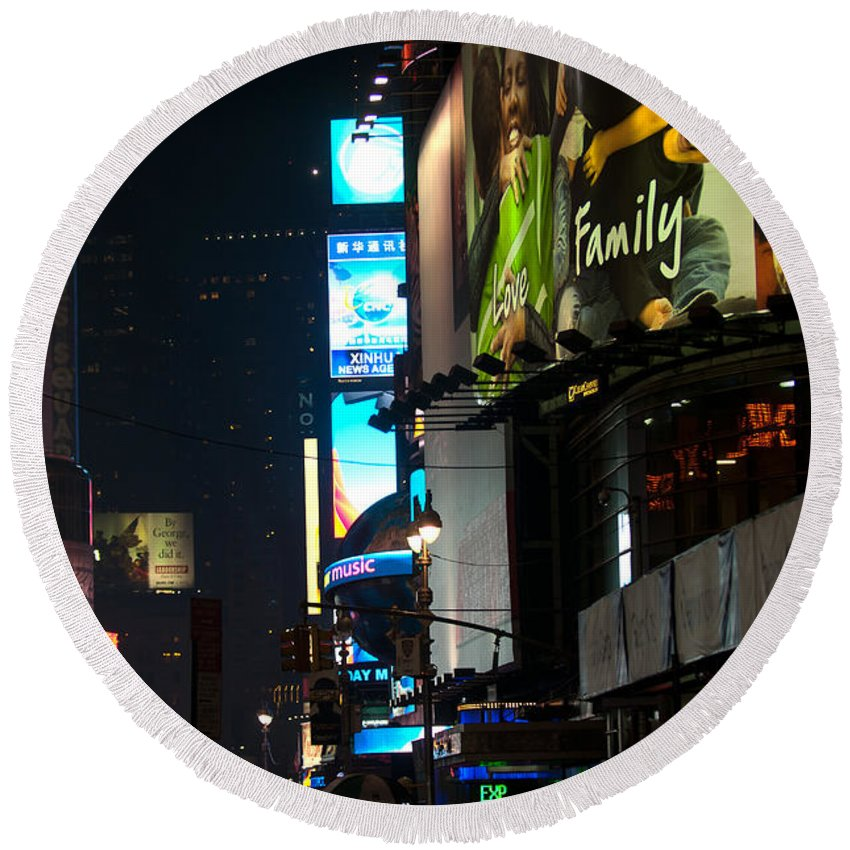 """""""new York City"""" Round Beach Towel featuring the photograph The Holidays In Time Square by Paul Mangold"""