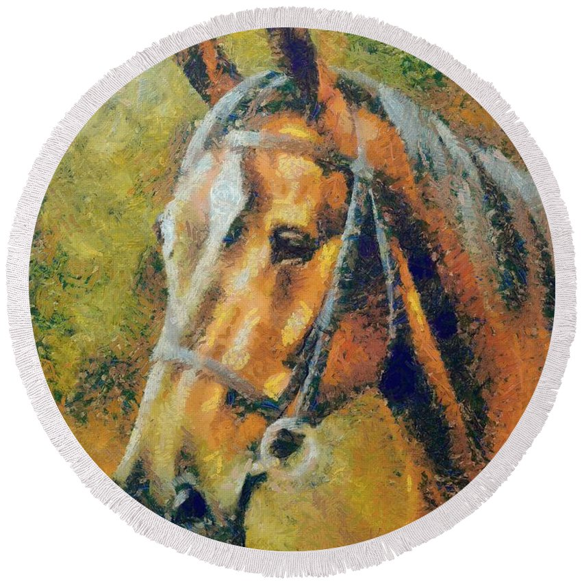 Animal Round Beach Towel featuring the painting The Horse's Head by Dragica Micki Fortuna