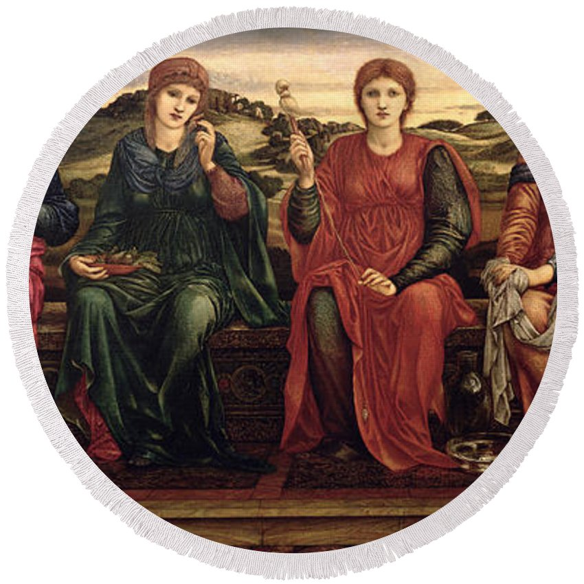 Harp Round Beach Towel featuring the painting The Hours, 1870-82 by Sir Edward Coley Burne-Jones