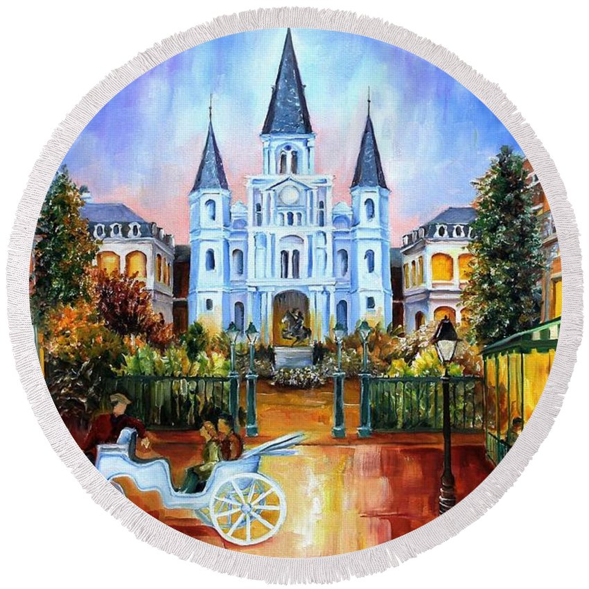 New Orleans Round Beach Towel featuring the painting The Hours On Jackson Square by Diane Millsap