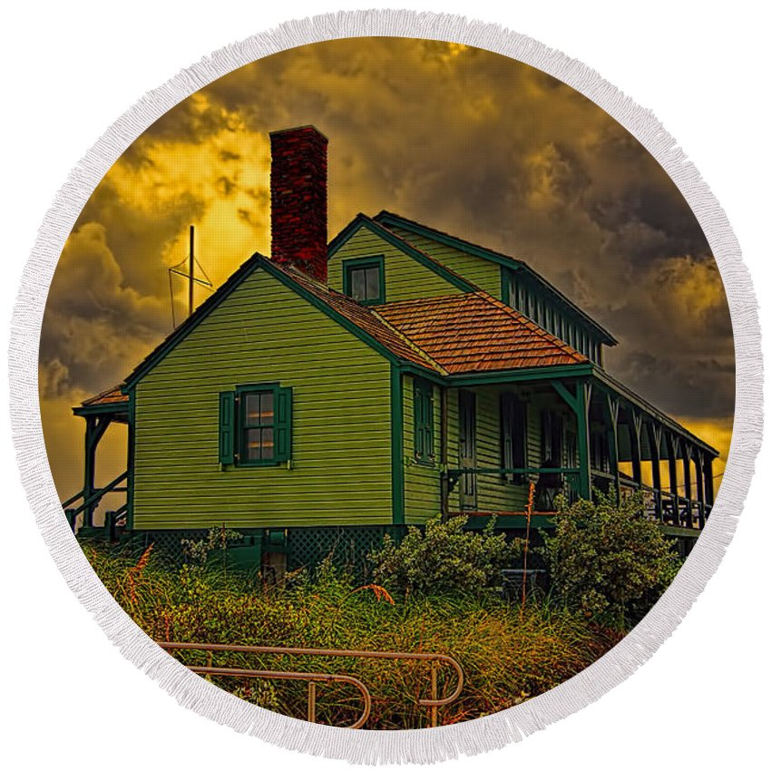 The House Of Refuge Round Beach Towel featuring the photograph The House Of Refuge by Olga Hamilton