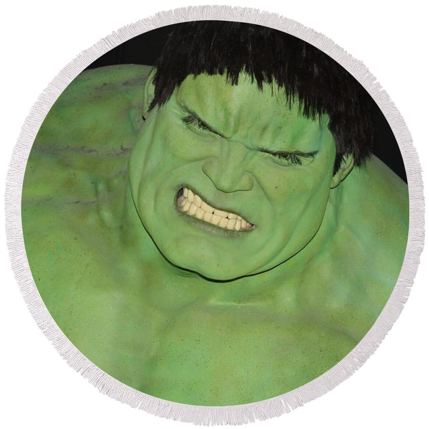 The Hulk Round Beach Towel featuring the photograph The Hulk by John Telfer