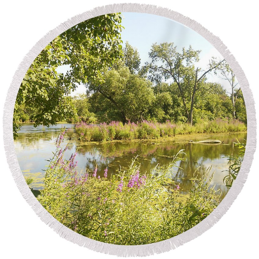 Indiana Round Beach Towel featuring the photograph The Indiana Wetlands 2 by Verana Stark