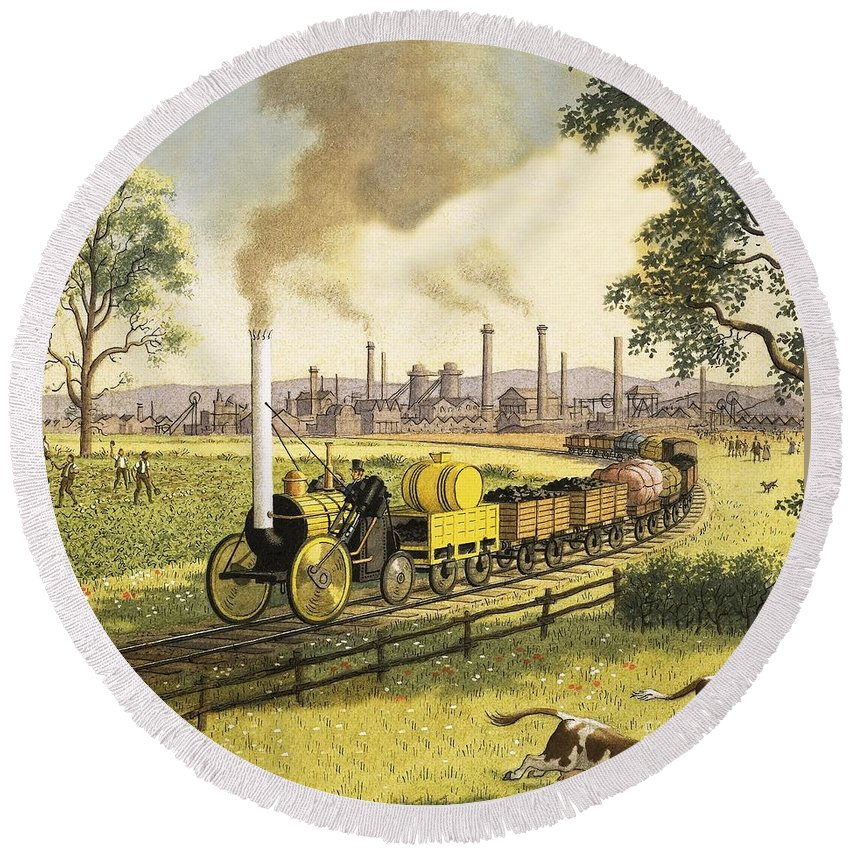 Steam Engine Round Beach Towel featuring the painting The Industrial Revolution by Ronald Lampitt