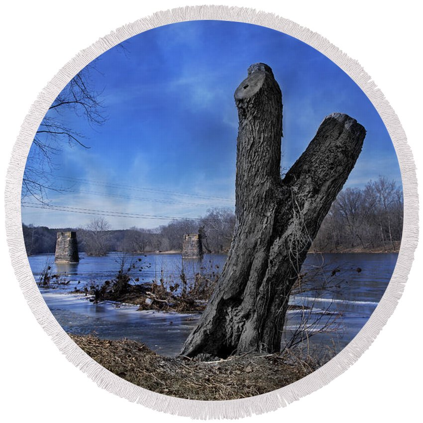 The Round Beach Towel featuring the photograph The James River One by Betsy Knapp