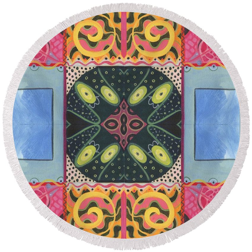 Doors Round Beach Towel featuring the digital art The Joy Of Design I X Arrangement Doors by Helena Tiainen